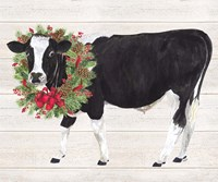 Christmas on the Farm III Cow with Wreath Fine Art Print