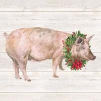 Christmas on the Farm IV Pig Fine Art Print