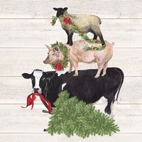Christmas on the Farm VI Trio Facing left Fine Art Print
