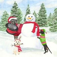 Dog Days of Christmas I Building Snowman Fine Art Print