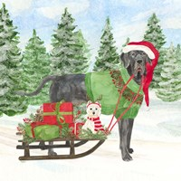 Dog Days of Christmas II Sled with Gifts Fine Art Print