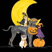 Fright Night Friends II Dog with Pumpkin Fine Art Print
