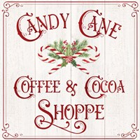 Vintage Christmas Signs I-Candy Cane Coffee Framed Print
