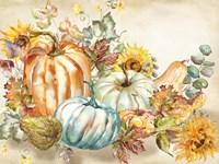 Watercolor Harvest Pumpkin landscape Fine Art Print