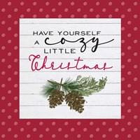 Cozy Christmas Dots I Pine cones Fine Art Print