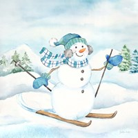 Let it Snow Blue Snowman III Fine Art Print