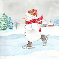Let it Snow Blue Snowman V Fine Art Print