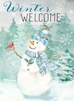 Let it Snow Blue Snowman portrait Fine Art Print