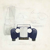Roadster II Blue Car Fine Art Print