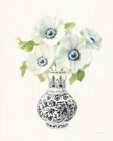Floral Chinoiserie I Black Crop Framed Print