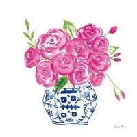 Chinoiserie Roses on White II Fine Art Print