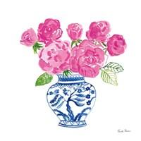 Chinoiserie Roses on White I Fine Art Print