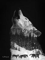Black & White Wolf Pack Fine Art Print