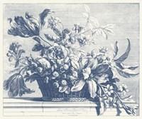 Navy Basket of Flowers I Fine Art Print