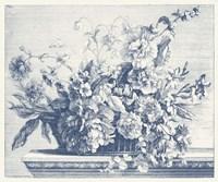 Navy Basket of Flowers II Fine Art Print