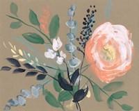 Flowers on Mocha I Fine Art Print