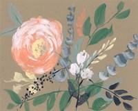 Flowers on Mocha II Fine Art Print