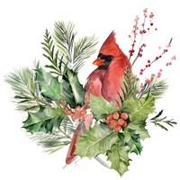 Cardinal Holly Christmas I Fine Art Print