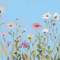 Wild Flowers on Cerulean I Fine Art Print