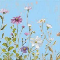 Wild Flowers on Cerulean II Fine Art Print