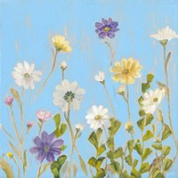Wild Flowers on Cerulean III Fine Art Print