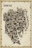 Antique Iconic Cities-Tokyo Fine Art Print