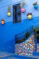Morocco, Chefchaouen Colorful House Exterior Fine Art Print