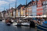 Colorful Buildings, Boats And Canal, Denmark, Copenhagen Fine Art Print