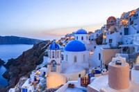Greece, Santorini, Oia Sunset On Coastal Town Fine Art Print