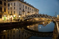 Italy, Lombardy, Milan Historic Naviglio Grande Canal Area Known For Vibrant Nightlife Fine Art Print