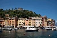 Italy, Province Of Genoa, Portofino, Fishing Village On The Ligurian Sea, Pastel Buildings Overlooking Harbor Fine Art Print