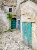 Italy, Basilicata, Matera Doors In A Courtyard In The Old Town Of Matera Fine Art Print