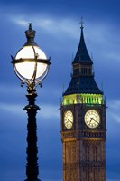 Europe, Great Britain, London, Big Ben Clock Tower Lamp Post Fine Art Print