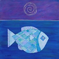 Fish With Spiral Moon Fine Art Print