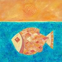 Fish With Spiral Sun Fine Art Print