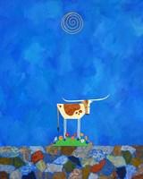 Longhorn on Wildflower Hill Fine Art Print