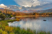 Sunrise On Hallett Peak And Flattop Mountain Above Sprague Lake, Rocky Mountain National Park, Colorado Fine Art Print