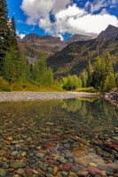 Mcdonald Creek With Garden Wall In Early Autumn In Glacier National Park, Montana Fine Art Print