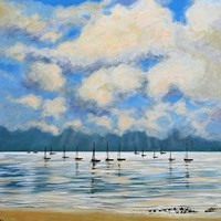 Boat Reflections Off Shore Fine Art Print