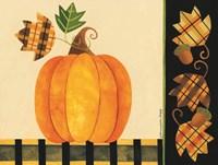 Pumpkin, Leaves and Acorns I Fine Art Print