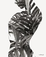 Black & White Palm Leaves Woman Fine Art Print