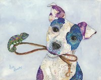 Jack Russell and Chameleon Fine Art Print