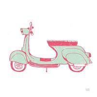 Road Trip Vespa Pink Green Fine Art Print