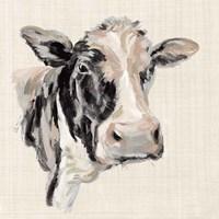 Expressionistic Cow I Neutral Linen Fine Art Print