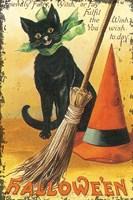 Halloween Nostalgia Cat with Broom Fine Art Print
