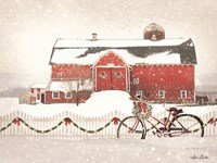 Christmas Barn and Bike Fine Art Print