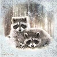 Enchanted Winter Raccoons Fine Art Print