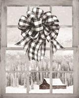 Christmas Barn with Bow Fine Art Print