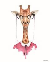 Giraffe in Glasses Fine Art Print
