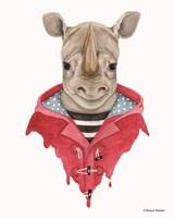 Rhino in a Raincoat Fine Art Print